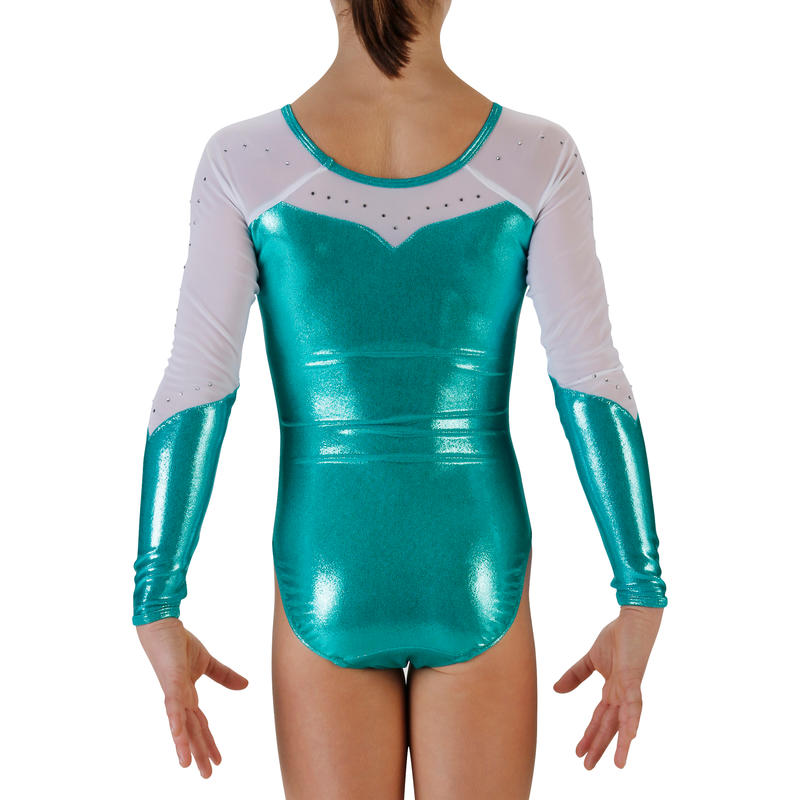 ... Justaucorps manches longues Gym Fille (GAF) paillettes strass voile  turquoise ... 32f003f1a85