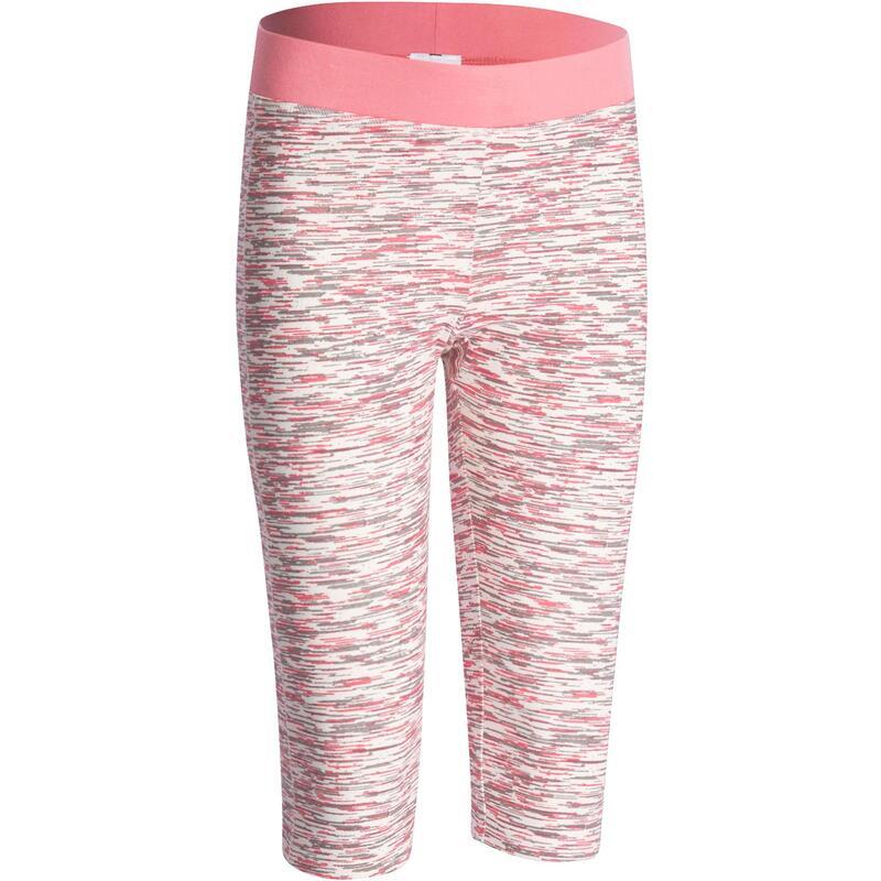 Fitness kuitbroek+ voor meisjes wit/roze