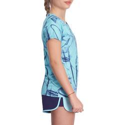 Camiseta Manga Corta Deportiva Gimnasia Domyos Energy Niña Azul Estampado