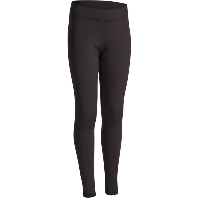 S500 Girls' Warm Gym Leggings - Black