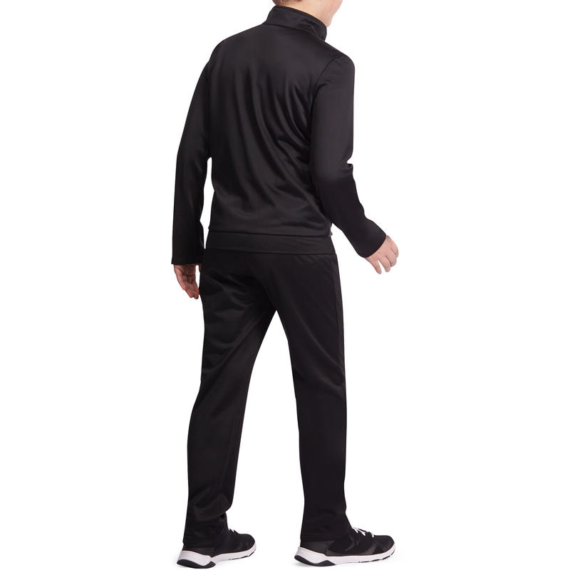 Gym'Y Boys' Zip-Up Fitness Tracksuit - Black/Grey