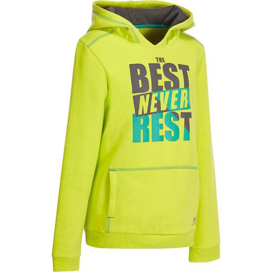 Warme gymhoodie jongens groen/zwart met opdruk - 936540