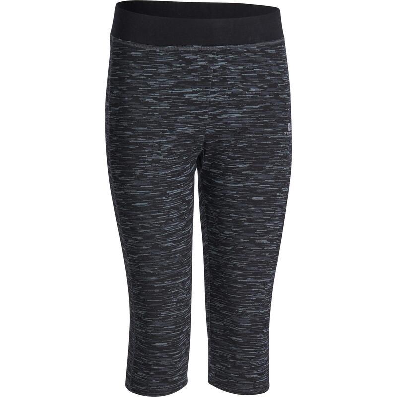Fitness kuitbroek+ voor meisjes zwart/grijs