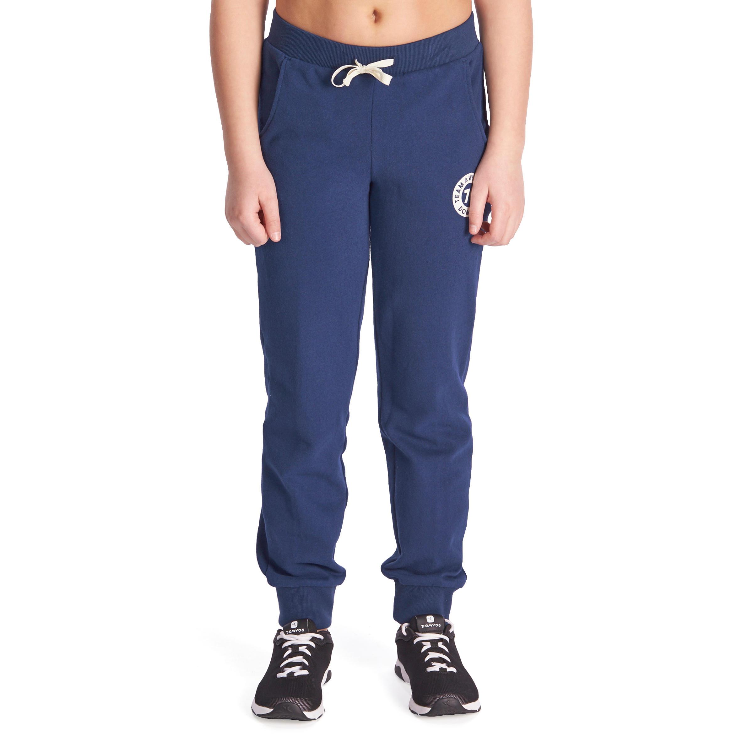 Pantalón 500 cálido regular gimnasia niña bolsas azul marino