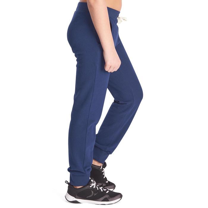 Pantalon 500 chaud regular Gym Fille poches bleu marine