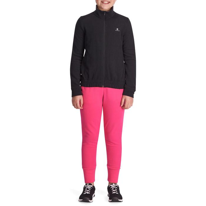 Pantalón Largo Chándal Gimnasia Domyos 500 Niña Rosa Cálido Slim