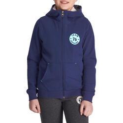 Warme fitness hoodie met rits voor meisjes marineblauw - 936807