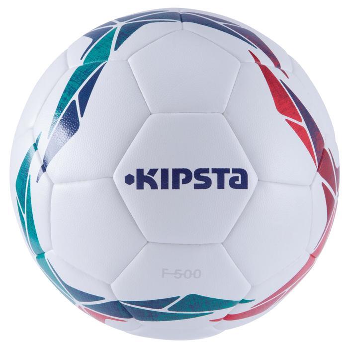 Balón de fútbol F500 Híbrido talla 4 blanco rojo verde