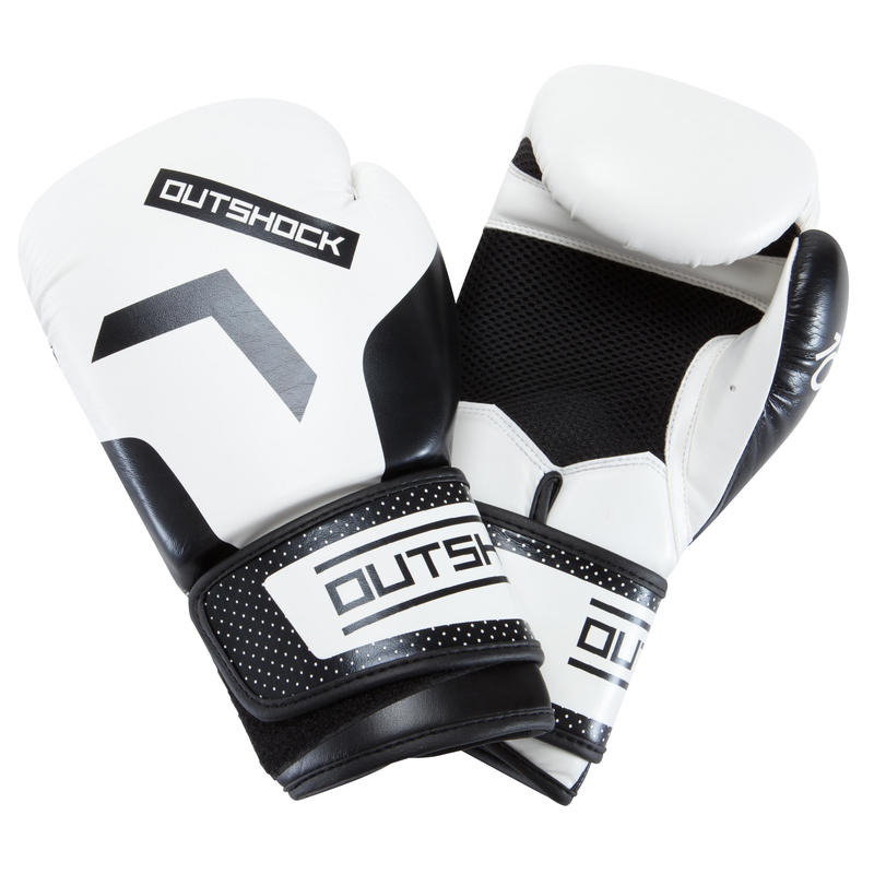 Guantes boxeo 300 Blanco, guantes de entrenamiento nivel iniciación hombre/mujer