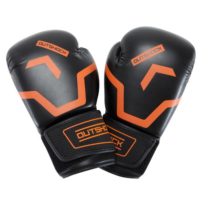 Gants de boxe 500  noir/orange, gants pour boxeur confirmés homme et femme - 937624