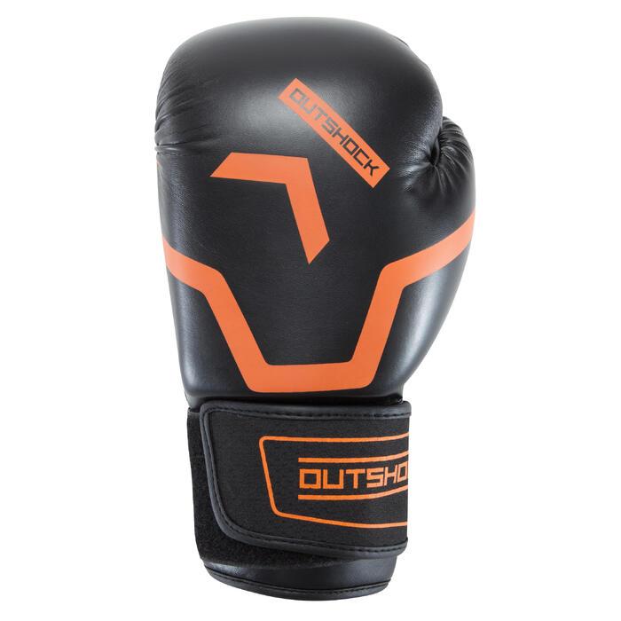 Gants de boxe 500  noir/orange, gants pour boxeur confirmés homme et femme - 937625