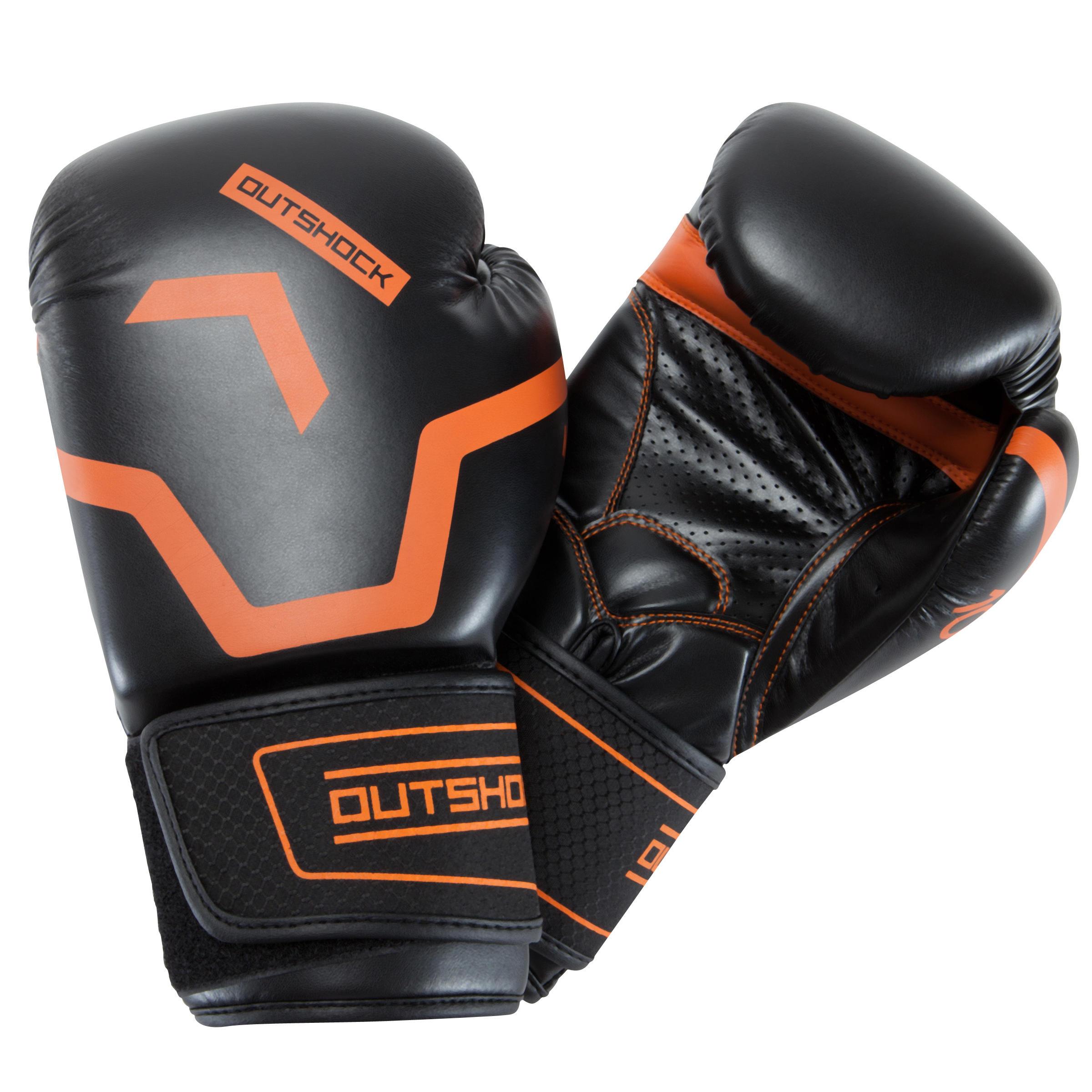 Outshock Bokshandschoenen 500 zwart/oranje, voor halfgevorderde boksers, heren en dames