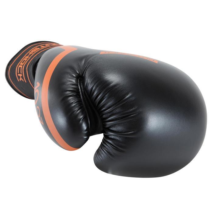 Gants de boxe 500 noir/orange, gants pour boxeur confirmés homme et femme