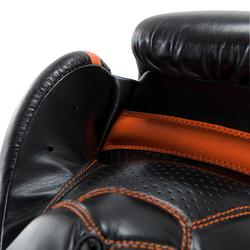 Bokshandschoenen 500 zwart/oranje, voor halfgevorderde boksers, heren en dames