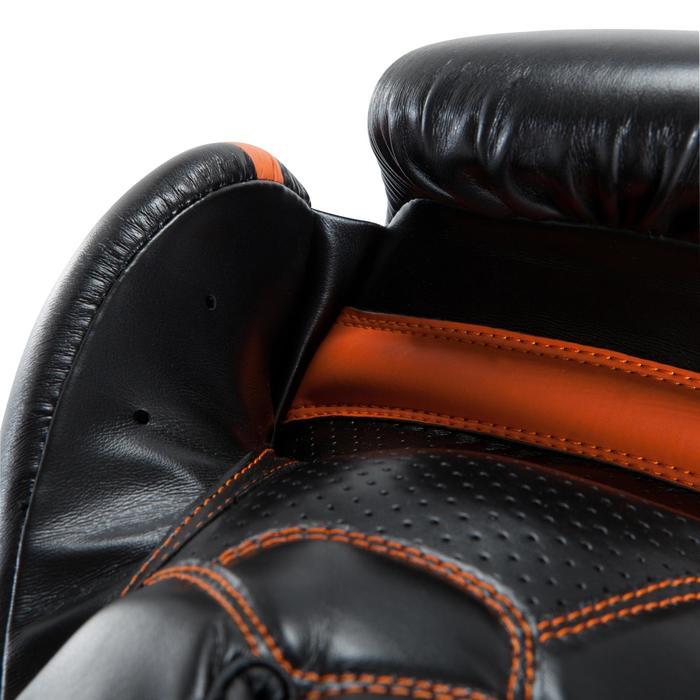 Gants de boxe 500  noir/orange, gants pour boxeur confirmés homme et femme - 937636