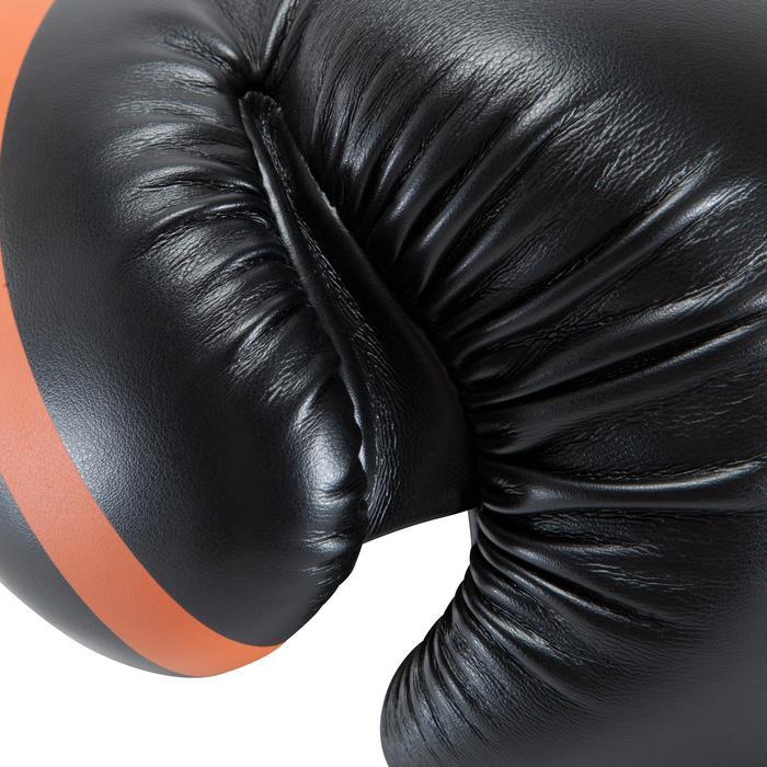 Gants de boxe 500  noir/orange, gants pour boxeur confirmés homme et femme - 937638