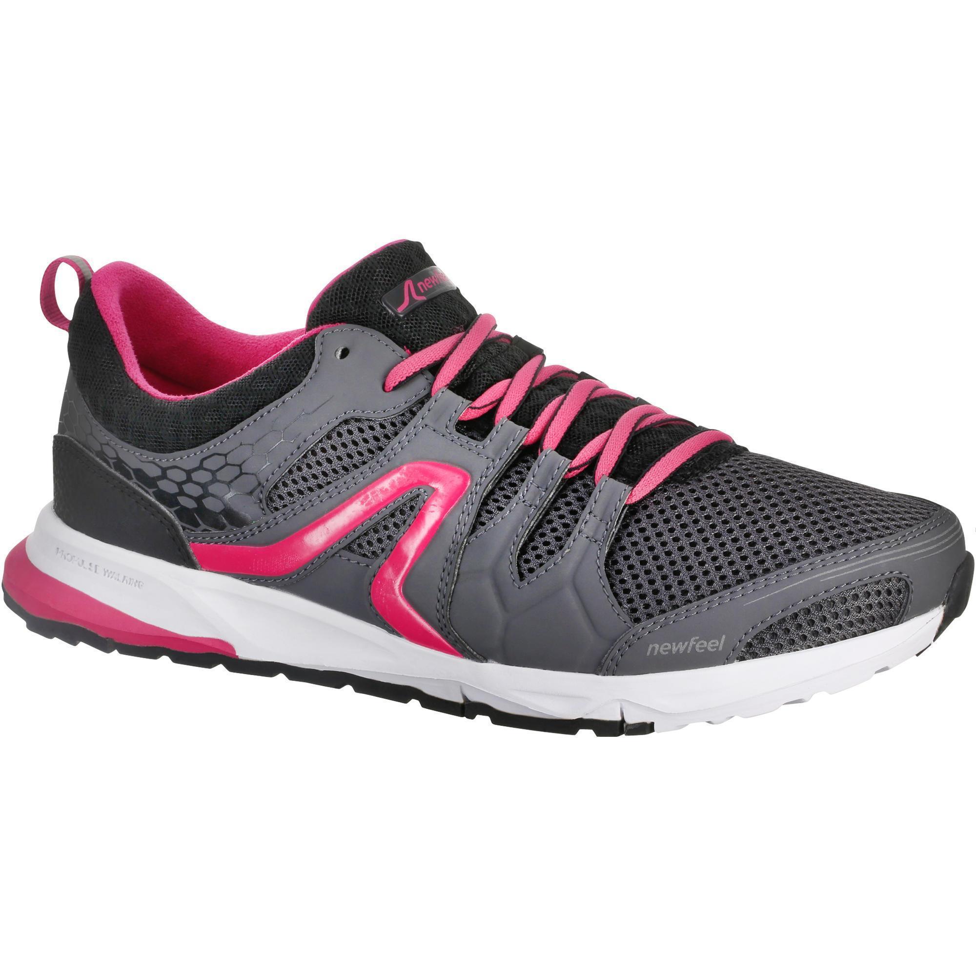 chaussures marche sportive femme pw 240 gris rose newfeel. Black Bedroom Furniture Sets. Home Design Ideas