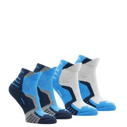 Children's mountain walking socks, 2 pairs, mid height crossocks - Blue