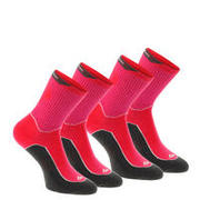 2 pairs of high length adult Arpenaz 100 mountain hiking socks – Pink.