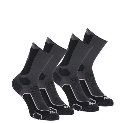 גרביים גבוהות לטיולי הרים. Forclaz 500 מארז 2 זוגות - שחור/אפור.