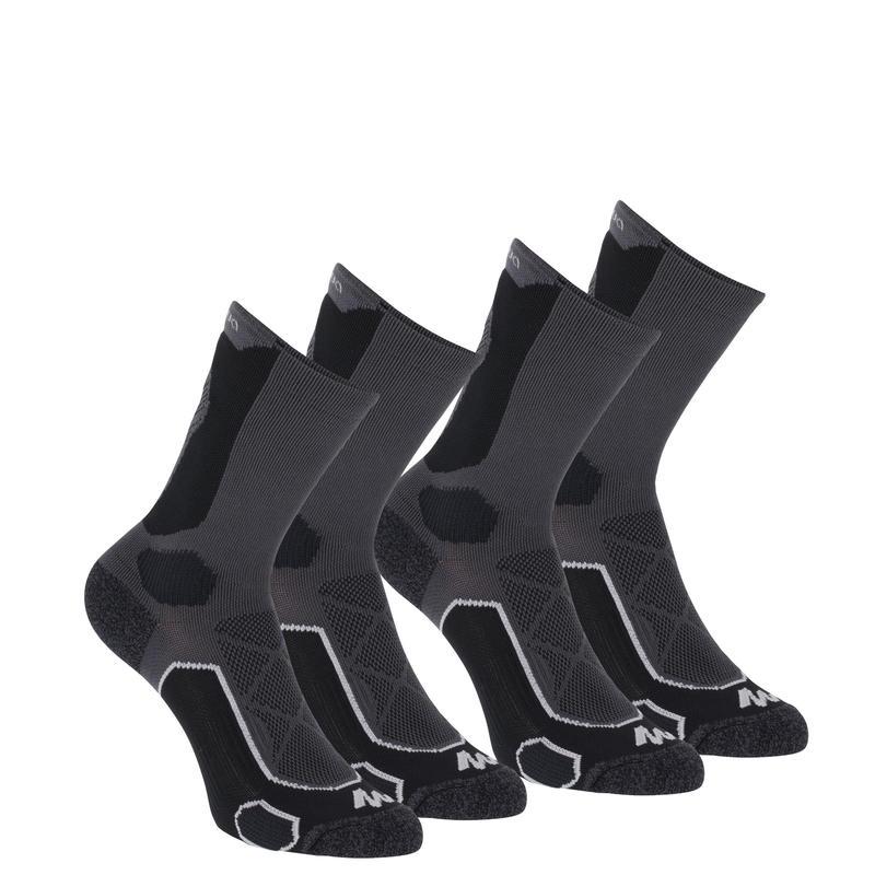 Calcetines de hiking en la montaña largos2 pares Forclaz 500 negro gris.