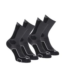 High-top mountain walking socks. MH 500 2 pairs - Black Grey.