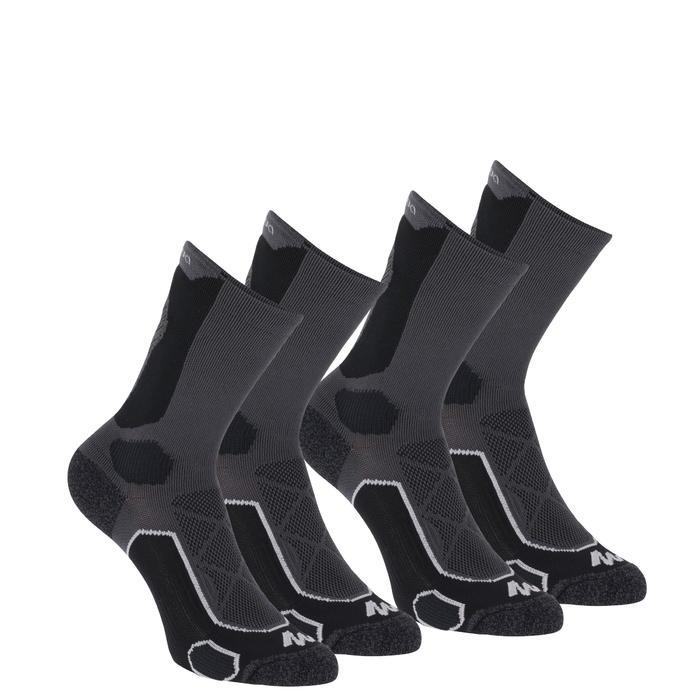 High-top mountain walking socks. MH 500 2 pairs - Black Grey.
