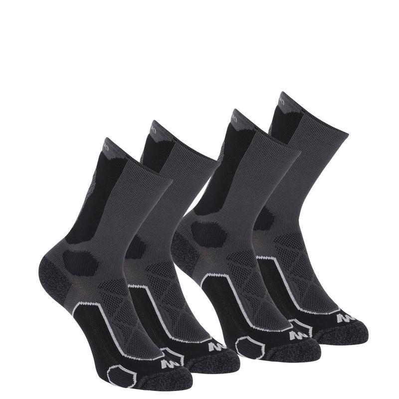 Chaussettes de randonnée montagne tiges high. 2 paires MH 500 noir gris.