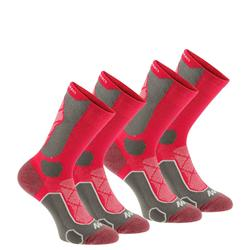 Calcetines de senderismo en la montaña caña alta. 2 pares Forclaz 500 rosa gris