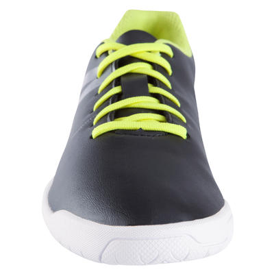 First 100 Kids' Futsal Trainers - Black/White/Yellow