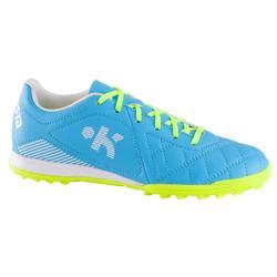 Botas de fútbol para niños terrenos duros Agility 500 HG azul amarillo