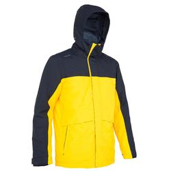100 Men's Warm Sailing Jacket - Yellow/Dark Blue