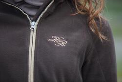 2-in-1 damesfleece met kap HR ruitersport gemêleerd logo - 94505