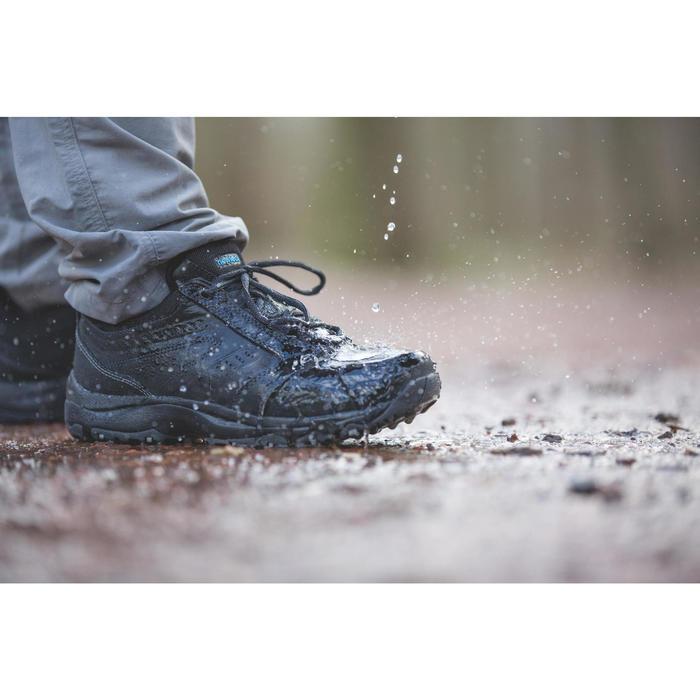 Sneakers voor sportief wandelen heren Nakuru waterproof leer zwart