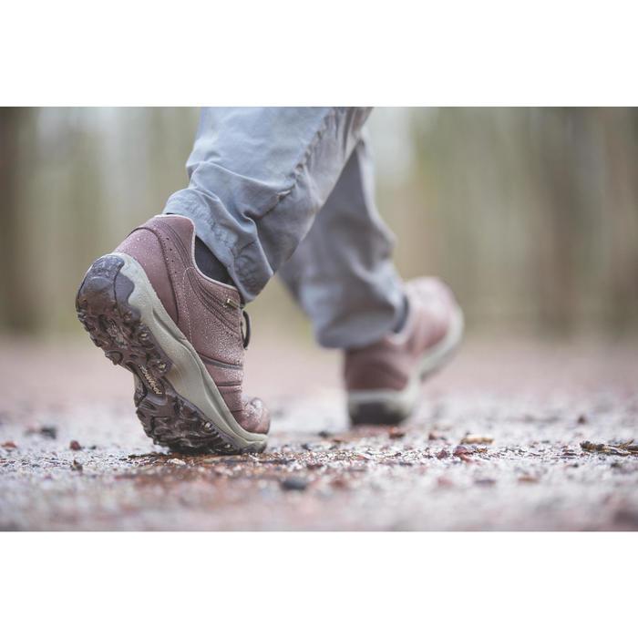 Waterdichte leren damessneakers voor sportief wandelen Nakuru bruin / beige