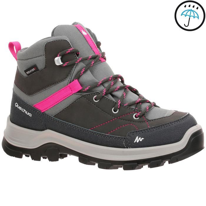 Chaussures de randonnée montagne enfant MH500 Mid imperméable gris/rose