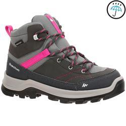 青少年中筒防水山區健行運動鞋 MH500 Mid - 灰色/粉紅