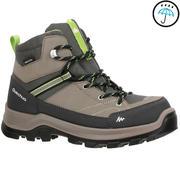 Rjavi srednje visoki vodoodporni pohodniški čevlji MH500 za otroke