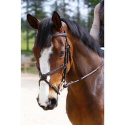 Hoofdstel + teugels Paddock ruitersport zwart- paard - 954659