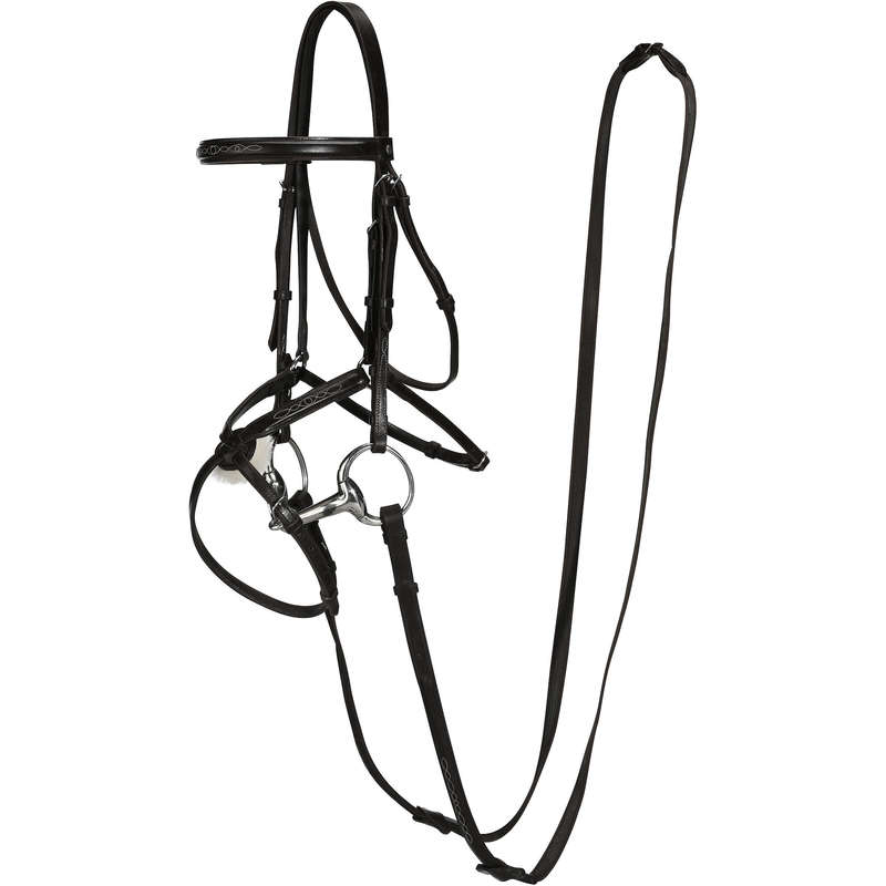 HORSE BRIDLES/REINS Horse Riding - Paddock Bridle + Reins - Black FOUGANZA - Saddlery and Tack
