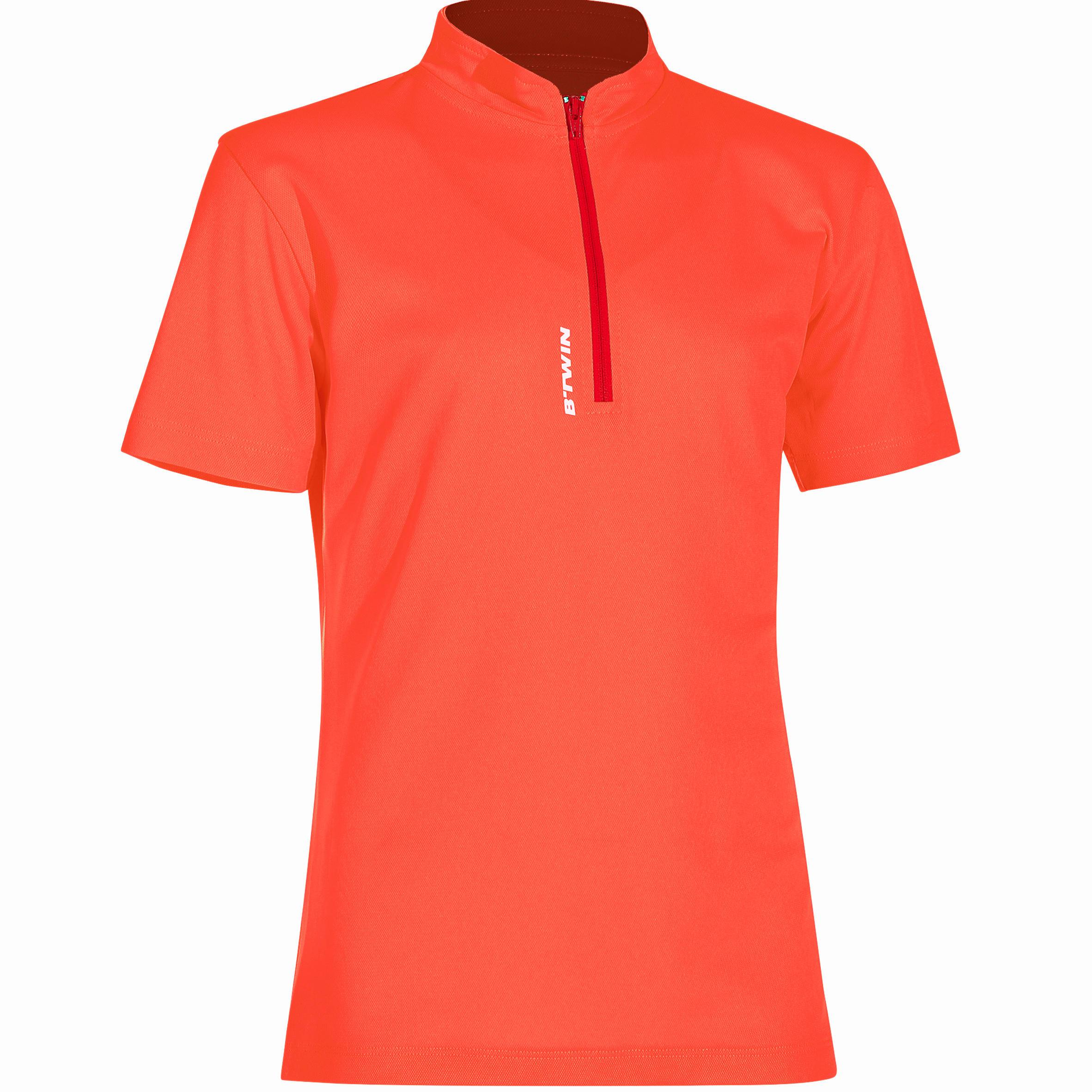 Fietsshirt met korte mouwen 300 voor kinderen rood