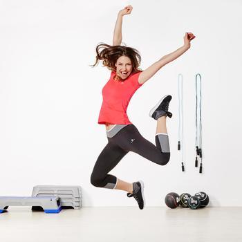Legging 7/8 ENERGY fitness femme bicolore noir et gris ceinture contrastée - 956353