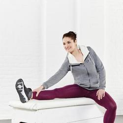 Dameslegging Salto 100 voor gym en stretching slim fit marineblauw