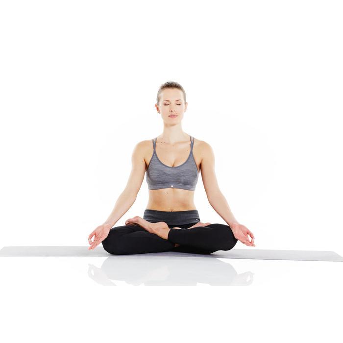 Legging yoga femme coton issu de l'agriculture biologique noir / gris chiné - 956745