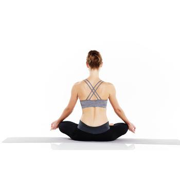 Legging yoga femme coton issu de l'agriculture biologique noir / gris chiné - 956751