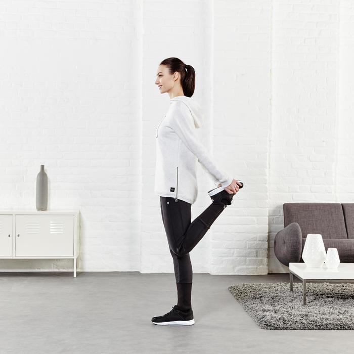 Damesbroek 500 met pijpen met rits voor gym en stretching slim fit zwart