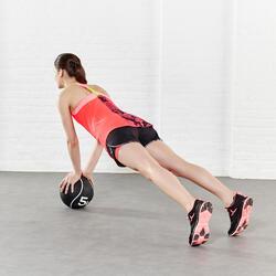 Short 2 in 1 fitness cardio dames zwart/roze Energy+ - 956796