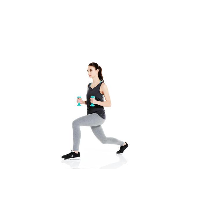 Damestop voor gym en pilates gemêleerd grijs