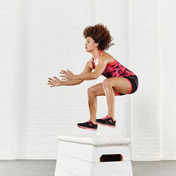 Short 2 in 1 fitness cardio dames zwart/roze Energy+ - 956861