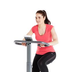 T-Shirt 500 Slim Pilates sanfte Gym Damen graumeliert
